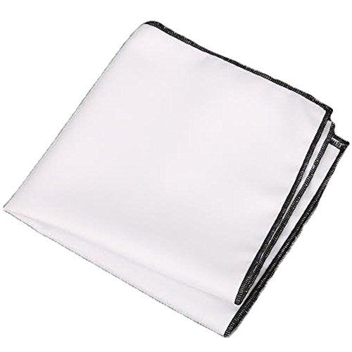 Mens Black Border (Flairs New York Gentleman's Essentials Weekend Casual White Pocket Square (White / Midnight Black))