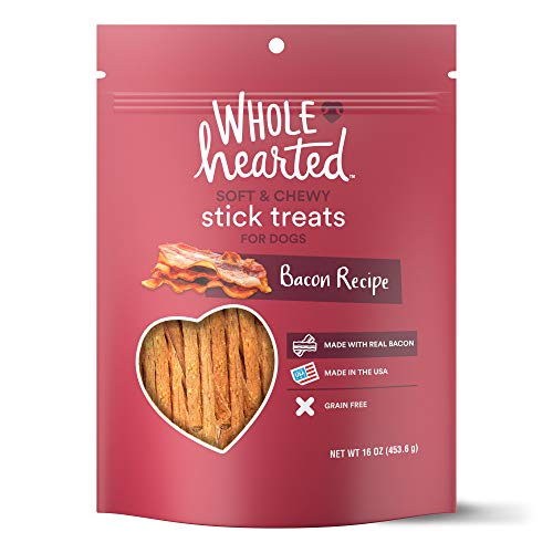 - WholeHearted Grain Free Soft and Chewy Bacon Recipe Dog Stick Treats, 16 oz
