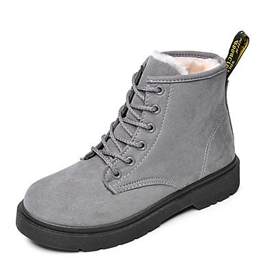 CN38 UK5.5 EU38 Women039;s Shoes Flocking Leatherette Fall Winter Fluff Lining Snow Boots Boots Flat Heel Round Toe Booties//Ankle Boots Split Joint ForGrayUS7.5