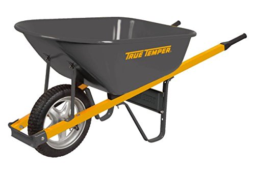 True Temper R6STSP25 6 Cu Ft Steel Wheelbarrow Steel Handles Flat-Free Tire ()
