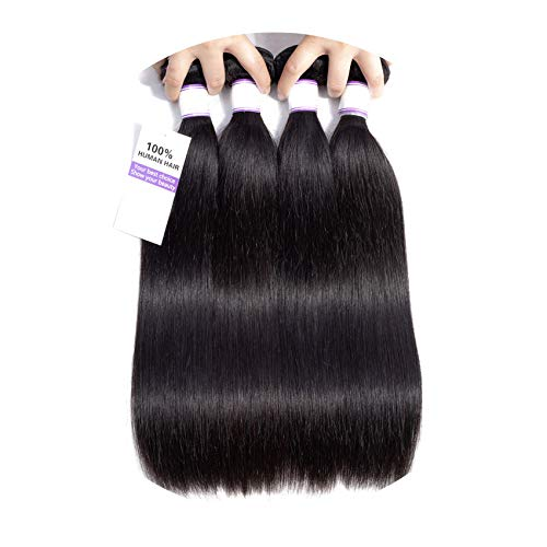 Straight Hair Bundles 8-28 inch 100% Human Hair Weave Non Remy Hair Extension Natural Color 1/3/4pcs,18 20 22 22,South Africa ()