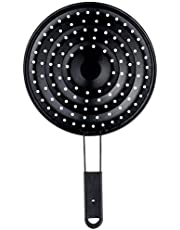 Qasem Round Burning Rice Preventer with Stainless Steel Handle - Black