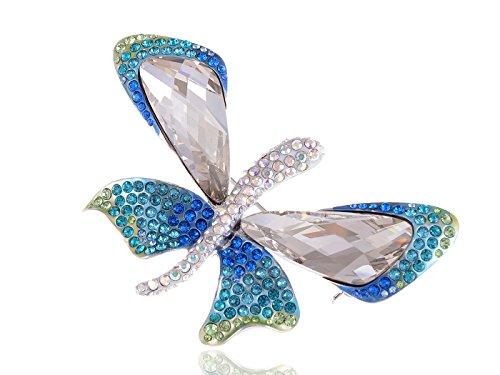 Alilang Tropical Blue Green Emperor Butterfly Swarovski Crystal Rhinestone Pin Brooch