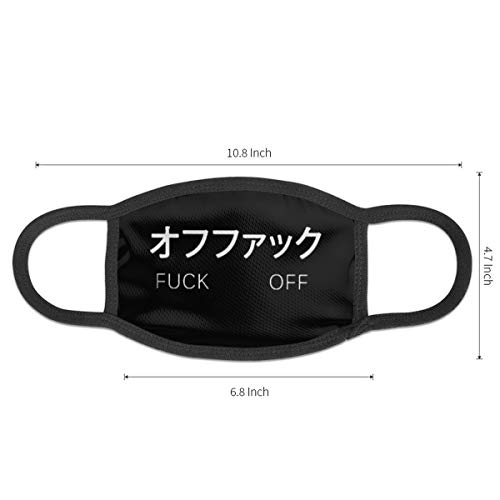 Fashion Japanese Notes Words Fuck Off Logo Unisex Mouth Mask Washable Reusable Breathable Mouth-Muffle For Mens And Womens