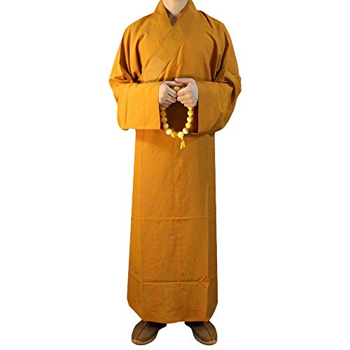 ZooBoo Summer Buddhist Shaolin Monk Robe Cotton Linen Long Robes Gown Kung Fu Uniforms Martial Arts Clothings (Earth Yellow, 40)