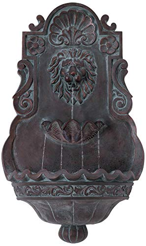 "John Timberland Lion Head 31 1/2"" High Indoor Outdoor Bronze Wall Fountain"