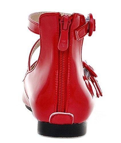 Idifu Donna Comoda Con Fibbia A Tre Cinghie Scarpe Da Gladiatore A Punta Piatta Con Cerniera Posteriore Rossa