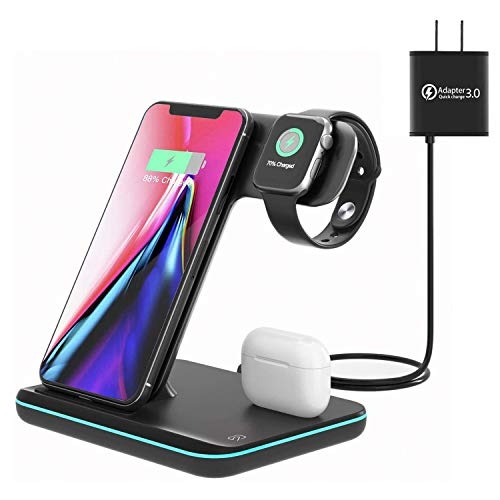 Wireless Charging Station, 3 in 1 Qi Charger for Apple Watch 1/2/3/4/5/SE/6 Airpods 2/pro Wireless Charger for iPhone 12…