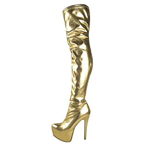 Mode Durstige Damen Herren Unisex Über Knie Oberschenkel High Heel Stretch Kunstleder Wildleder Stiefel Schuhe Größe Gold Stretch Kunstleder