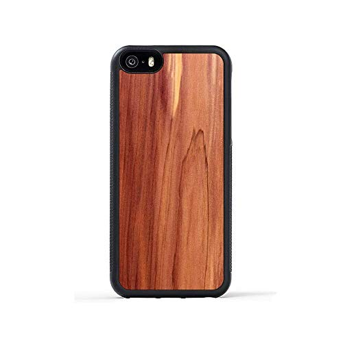 iPhone 5 / 5s / SE Cedar Wood Traveler Case by Carved, Unique Real Wooden Phone Cover (Rubber Bumper, Fits Apple iPhone 5 / 5s / SE) ()