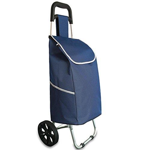 (XUEXIN Shopping cart aluminum alloy folding portable buy luggage trolley push the supermarket shopping cart , cyan)
