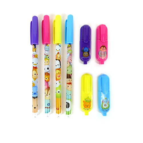 Disney Tsum Tsum 4 Colors Highlighter & Glitter Gel Pen Set : Purple Pink Yellow Blue