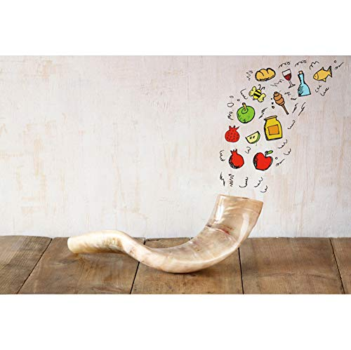 Leyiyi Hanukkah Party Backdrop 6x4ft Polyester Photography Backdrop Shofar Delicious Food Fruits Vintage Grunge Stained Cement Wall Wooden Textured Board Photo Booth Studio Props