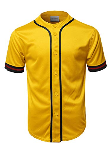 Casual Hipster Short Sleeves Baseball Inspired Jersey Top Yellow M ()