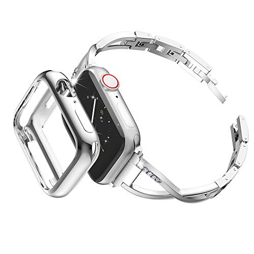 Marge Plus Compatible with Apple Watch Band 42mm 44mm with Case, Women Bling Wristband for iWatch Series 4 3 2 1 Metal Stylish Strap, ()