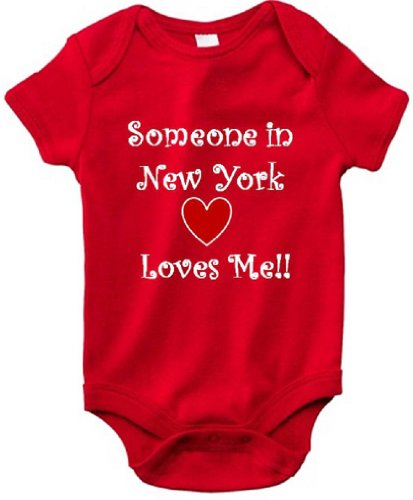 SOMEONE IN NEW YORK LOVES ME - NEW YORK BABY - State Series - Red Baby One Piece Bodysuit/Baby T-shirt - White Lettering - size Small (6-12M)