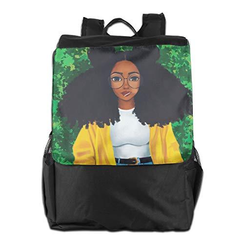 (Louise Morrison Melanin Black Girl Cartoon Women Glasses Women Men Laptop Travel Backpack College School Bookbag)