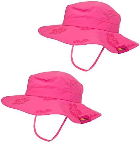 2pk Kids Safari Hat Sun Protective Zone UPF 50+ Child Block UV Rays Shade 938151 Pink Girls