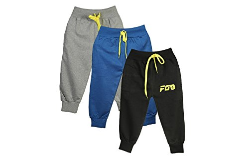 Boys Girls Pants Toddlers Cotton Track Pant Joggers-Pack Of 3 (2-3 years, Black Yellow, Royal Blue Yellow, Grey Yellow)