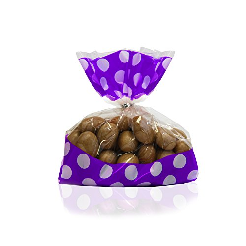 Gift Expressions Beautiful Polka Dot and Striped Party Plastic Favour and Giveaway Bag, Pack of 24 (Small, Polka Dot Purple)