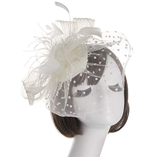 Flower Feather Mesh Feather Headdress,Starcy Women Flower Party Hat Headwear from starcy Headwear