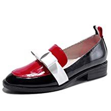 Nine Seven Patent Leather Women's Round Toe Low Heel Handmade Classic Penny Loafers Shoes New