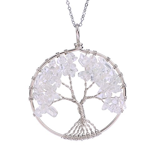 EnjoIt Tree of Life 7 Chakras Necklace Handmade Gemstone Amethyst Crystal Pendant Jewelry Gifts