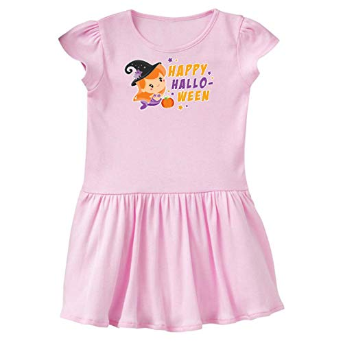 (inktastic - Mermaid Witch Happy Halloween with Toddler Dress 3T Ballerina Pink)