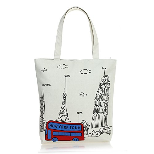 fitTek® Donna Borsa Handbag a Spalla in Tela Beige Stampa Torre Eiffel Bus per Scuola