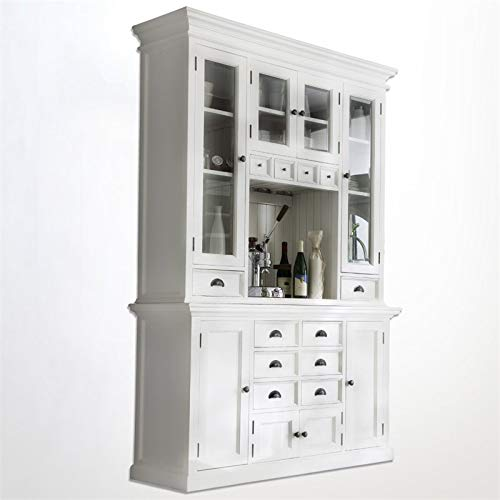 NovaSolo Halifax Pure White Mahogany Wood Hutch Cabinet With Glass Doors, Storage And 12 Drawers by NovaSolo