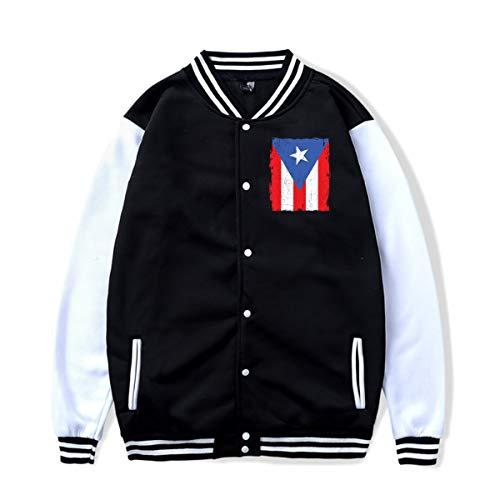(Puerto Rico Ricans Boricua Flag Baseball Jacket Uniform Sport Coat for Women&Men Black)