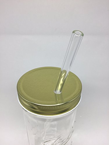 Glass Mason Drinking Jars with 2 Gold Lids, 2 Glass Straws (10''x 9.5mm) and 1 Straw Cleaner (24oz wide mouth, gold) (2) by Variety (Image #5)