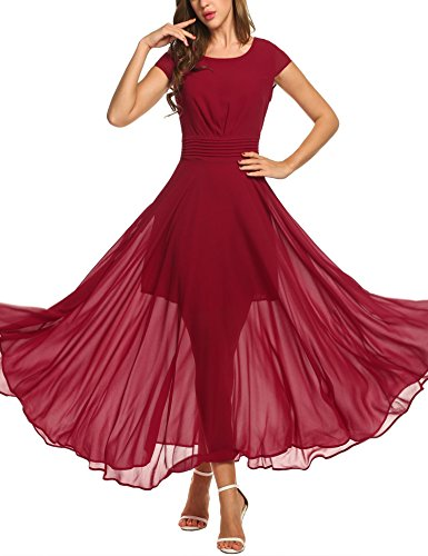 (Zeagoo Women's Casual Cap Sleeve Ruched Chiffon Bridesmaid Maxi Dress, dark red, XL)