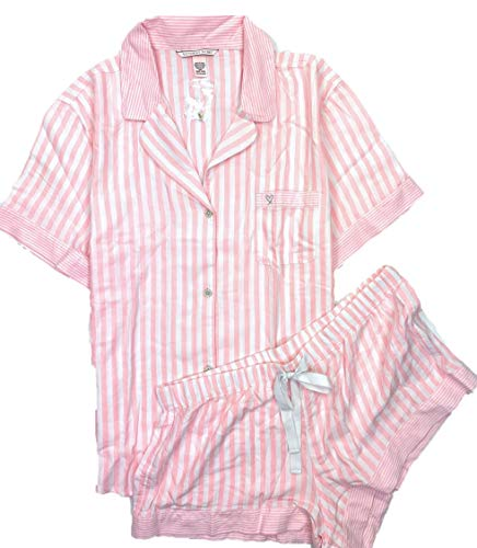 (Victoria's Secret Women's Flannel Boxer PJ Lightweight Pajama Shorts Set Pink/White Stripes Large)
