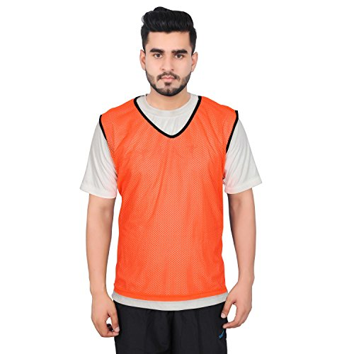 Mesh Training Bibs - GSI Mesh Sports Training Bibs/Pinnies/Scrimmage/Vests for Soccer, Basketball, Football, Volleyball and other Team games - Pack of 6 (Orange, Large)