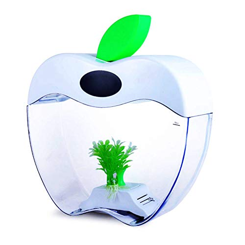 (ZNN Fish Tank - Multi-Function Desktop Fish Tank Smart Aquarium Decoration, USB Rechargeable LED Fish Tank, Acrylic Apple Shape, with Lid)