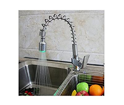 PST@ Chrome Brass Spring Pull Out Kitchen Faucet w/Color Changing LED Light Single Flat Handle Mixer Tap