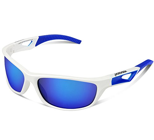 HODGSON Sports Polarized Sunglasses for Men or Women, UV400 Protection Unbreakable Sports Glasses for Cycling, Baseball Riding, Driving, Running, Golf and Other Outdoor Activities-White/Blue