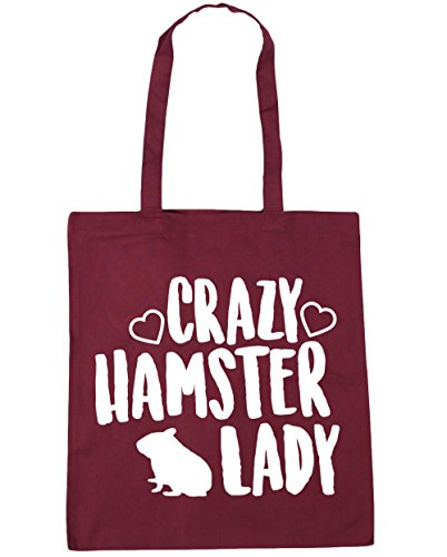 Beach Bag Crazy lady Tote 42cm Shopping Burgundy x38cm 10 hamster Gym litres HippoWarehouse wAYUx0ZU