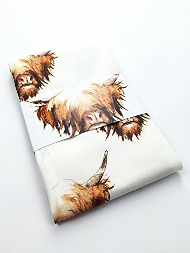 Clare Baird Scottish Highland Cow Coo 100% Cotton Tea Towel