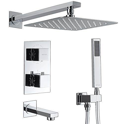 "Esnbia Thermostatic Shower System Wall Mounted Shower Faucet Set With Tub Spout and 10"" Rain Shower Head Polish Chrome"