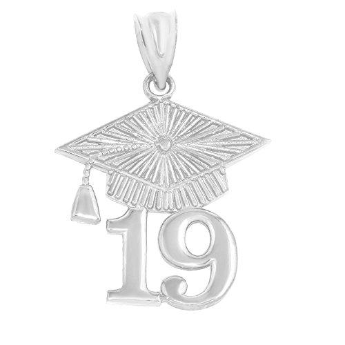 925 Sterling Silver 2019 Graduation Cap Charm Pendant