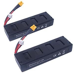 Wwman 2pcs 7.4v 1800mah 25C Li-poly Batteries for MJX B3 Bugs 3 RC Drone Spare Parts