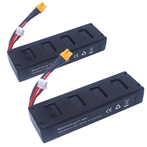 Wwman 2pcs 7.4v 1800mah 25C Li-poly Batteries for MJX B3 Bugs 3 RC Drone Spare Parts