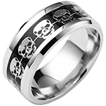 Clearance Unisex Punk Style Skull Carved Ring Stainless Steel Hip Hop Ring for Men Women