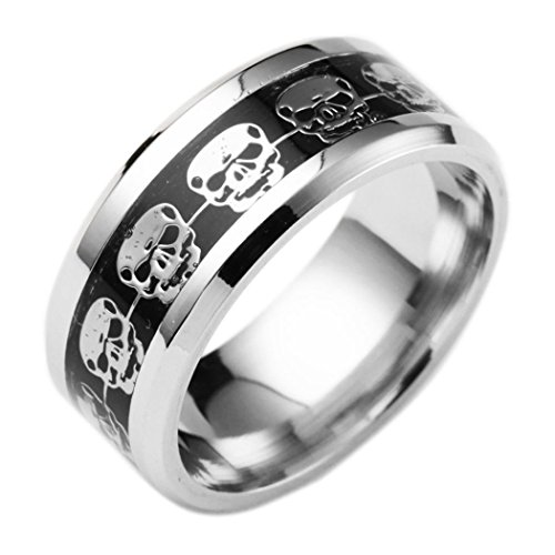 WYTong Clearance Unisex Punk Style Skull Carved Ring Stainless Steel Hip Hop Ring for Men Women (Silver, 10)