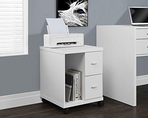 White Hollow-Core 2 Drawer Computer Stand On Castors