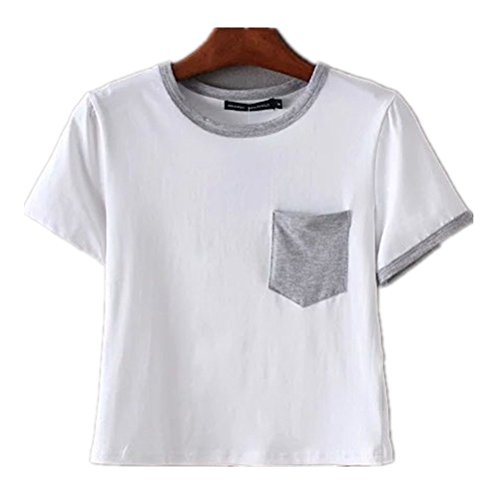 Girls Short Sleeve Knit Top (Uideazone Women Loose Short Sleeve Crop Top Teen Girls Casual Cotton)