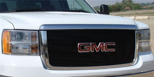 TRex Grilles 21206B Horizontal Aluminum Black Finish Billet Grille Insert and Overlay for GMC Sierra 2500HD/3500
