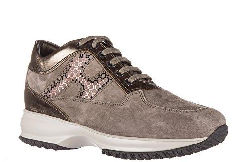 Hogan scarpe sneakers donna camoscio nuove interactive lavorata h laminata diseg